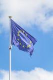 Europejczyk flaga na niebie Zdjęcia Stock