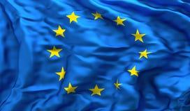Europejczyk flaga w niespokojnym wiatrze Zdjęcia Stock
