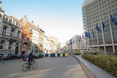 Europejczyk zaznacza przed Europejskiej prowizi kwaterami głównymi w Bruksela, Belgia Zdjęcia Stock