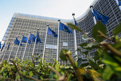 Europejczyk zaznacza przed Europejskiej prowizi kwaterami głównymi w Bruksela, Belgia Zdjęcie Stock