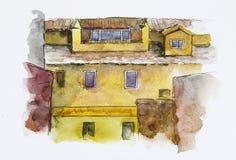 europejczyka dom beak dekoracyjnego latającego ilustracyjnego wizerunek swój papierowa kawałka dymówki akwarela Obrazy Stock