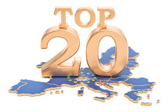 Europejczyka wierzchołka 20 pojęcie, 3D rendering Fotografia Stock