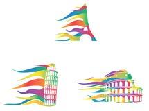 Europejczyka znacząco miejsc ikony target628_1_ w wiatrze Zdjęcia Royalty Free