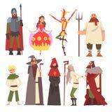 Europejscy Średniowieczni charaktery Ustawiający, rycerz, czarownik, królewiątko, Princess, chłop, dowcipniś, ludzie w Dziejowych ilustracja wektor