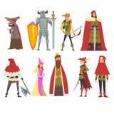 Europejscy Średniowieczni charaktery Ustawiający, Stara czarownica, rycerz, Archer, królewiątko, Princess, kat, ludzie w Dziejowy royalty ilustracja