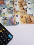 europejscy banknoty różni wyznania, kalkulator i biała księga, obrazy royalty free
