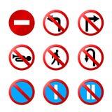 Europejscy drogowi znaki z szczegółami ilustracja wektor