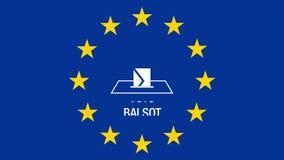 Europejscy wybory 2019 Animacja Europejska flaga G?osowanie! ilustracja wektor