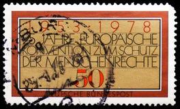 Europejska konwencja, 25th Anniv europejski prawa człowieka konwencji seria około 1978, zdjęcie stock