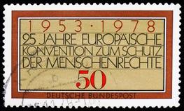 Europejska konwencja, 25th rocznica Europejski prawa człowieka konwencji seria około 1978, fotografia stock