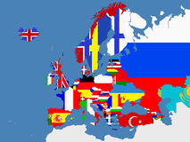 Europejska mapa z kraj granicami Obrazy Royalty Free