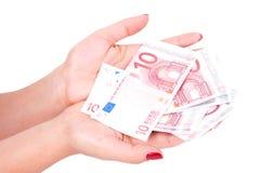 europejski żeński ręki mienia pieniądze Obraz Stock