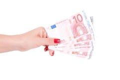 europejski żeński ręki mienia pieniądze Zdjęcia Stock