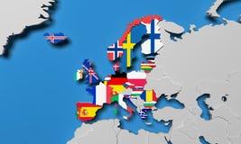 Europejski Ekonomiczny teren 3d odpłaca się mapę Zdjęcia Stock