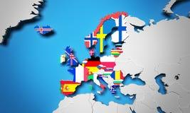 Europejski Ekonomiczny teren 3d odpłaca się mapę Zdjęcia Royalty Free