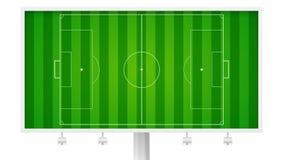Europejski futbol, boisko do piłki nożnej na horyzontalnym billboardzie Pole z ocechowaniami i naszywany gazon, widok od above ilustracji