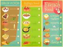 Europejski kuchnia menu ilustracja wektor