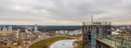 Europejski miasta Minsk widok z lotu ptaka Zdjęcie Stock