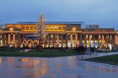 Europejski miasto na nowego roku ` s i Bożenarodzeniowych wakacjach germany Stuttgart Obraz Royalty Free