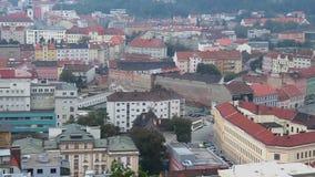 Europejski miasto widok, budynek architektury czerwieni tradycyjni dachy zbiory