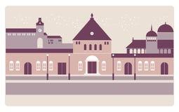 Europejski noontime miasta tło ilustracja wektor