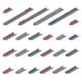 Europejski pasażerski dojeżdżający i intercity pociągów ikony isometric set Zdjęcia Royalty Free