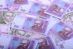 Europejski pieniądze, ukraiński hryvnia zbliżenie Fotografia Royalty Free