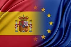 Europejski zjednoczenie i Hiszpania Pojęcie związek między UE i Hiszpania Fotografia Royalty Free