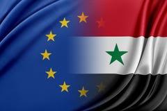 Europejski zjednoczenie i Syria Pojęcie związek między UE i Syrią Obraz Royalty Free