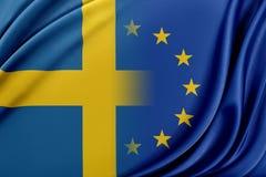 Europejski zjednoczenie i Szwecja Pojęcie związek między UE i Szwecja Obraz Stock