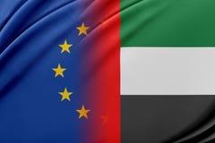 Europejski zjednoczenie i Zjednoczone Emiraty Arabskie Pojęcie związek między UE i Zjednoczone Emiraty Arabskie Zdjęcie Royalty Free