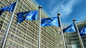 Europejskie Zrzeszeniowe flaga macha w wiatrze przed Europejską prowizją które Brukseli 4K zbiory