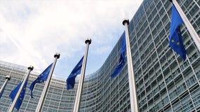 Europejskie Zrzeszeniowe flaga macha w wiatrze w zwolnionym tempie zbiory