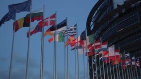 Europejskiego zjednoczenia kraju flaga przy wieczór zbiory wideo