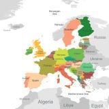 Europejskiego zjednoczenia mapa Zdjęcie Stock