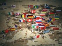 Europejskiego zjednoczenia mapa z flaga kraje europejczycy ilustracja wektor