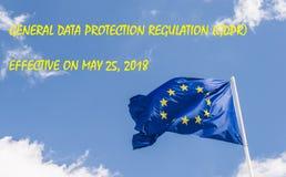 Europejskiego zjednoczenia Ogólnych dane ochrony przepis umacniać da i unifikować, GDPR, przychodzi w skutek na Maju 25, 2018 pro Zdjęcie Stock