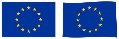 Europejskiego zjednoczenia UE Zaznacza Prosty i nieznacznie machający wersję royalty ilustracja