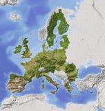 europejskiej mapy ulgi ocieniony zjednoczenie ilustracja wektor