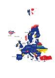 Europejskiej Zrzeszeniowego terytorium mapy i kraju imiona Fotografia Stock
