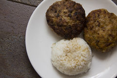 Europen meatballs with rice. Traditional european cutlets of pork meat Stock Photo