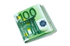 Europengarsedlar - som staplas 100 euroräkningar Arkivbilder