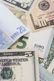 Europeo e soldi dell'americano degli Stati Uniti Immagini Stock Libere da Diritti