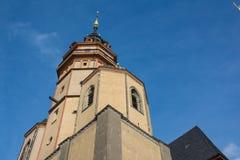 Europeo exterior Churc del ladrillo de la arquitectura de Leipzig Nikolaikirche Foto de archivo libre de regalías