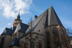 Europeo exterior Churc del ladrillo de la arquitectura de Leipzig Nikolaikirche Fotos de archivo libres de regalías
