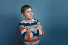 Europeo-mirada del muchacho de diez años con Fotografía de archivo