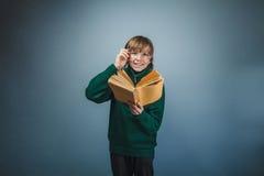 Europeo-mirada del muchacho de diez años en vidrios Fotos de archivo libres de regalías