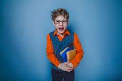 Europeo-mirada del muchacho de diez años en vidrios con Imagen de archivo libre de regalías