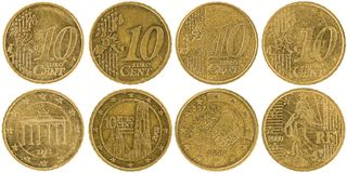 Europeo 10 monete parte anteriore e parte posteriore del centesimo isolate su backgr bianco Fotografia Stock Libera da Diritti