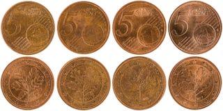 Europeo 5 monete parte anteriore e parte posteriore del centesimo isolate sul backgro bianco Immagine Stock